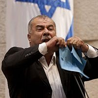 Mohammad Barakeh, speaking in the Knesset on June 24, 2013. (Flash90/File)