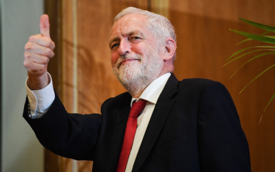 Labour Party leader Jeremy Corbyn leaves the stage after delivering an address at Queens University in Belfast, Northern Ireland, May 24, 2018. (Jeff J Mitchell/Getty Images via JTA)