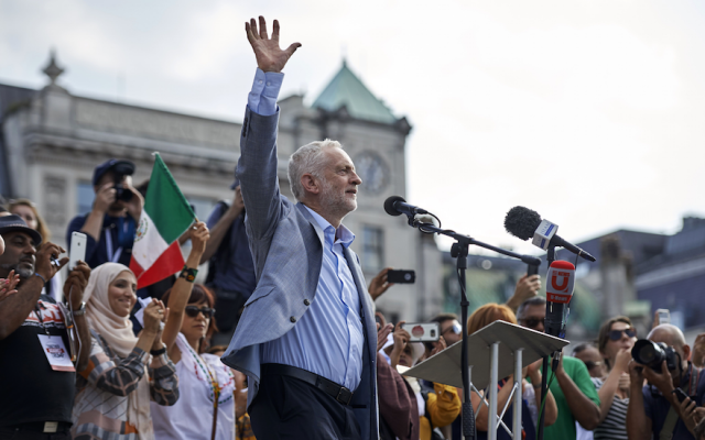 Jeremy Corbyn addresses a crowd in London's Trafalgar Square, July 13, 2018. (Niklas Hallen/AFP/Getty Images/via JTA)