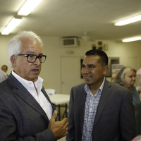 California gubernatorial candidate John Cox, left, will face Gavin Newsom, a Democrat and the lieutenant governor, in November 2018. (Wikimedia Commons via JTA)