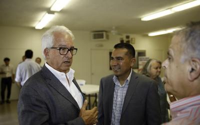 California gubernatorial candidate John Cox, left, will face Gavin Newsom, a Democrat and the lieutenant governor, in November 2018. (Wikimedia Commons via JTA)