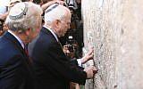John McCain (with Joe Lieberman) visits the Western Wall in Jerusalem's Old City March 19, 2008. (Nati Shohat /FLASH90)