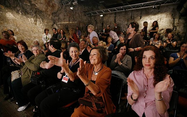 Argentian writer Liliana Heker (second from right) applauded after her play was performed at the International Writer's festival in Jerusalem in May 2010 (Miriam Alster/Flash 90)