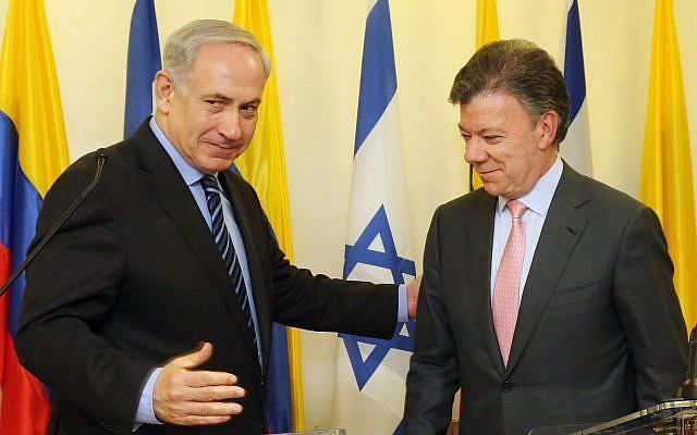 Prime Minister Benjamin Netanyahu (L) with Colombian President Juan Manuel Santos at a press conference in Jerusalem on June 11, 2013. (Marc Israel Sellem/Pool/Flash90)