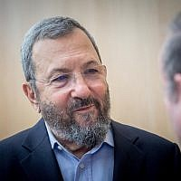 Former Israeli prime minister Ehud Barak attends a conference marking the 50th anniversary of the Six-Day War, at the Ben Zvi Institute in Jerusalem on June 5, 2017. (Yonatan Sindel/Flash90)