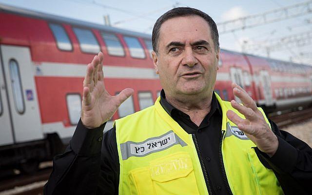 Transportation Minister Israel Katz is seen during test run of the Jerusalem-Tel Aviv fast train on January 16, 2018. (Hadas Parush/Flash90)