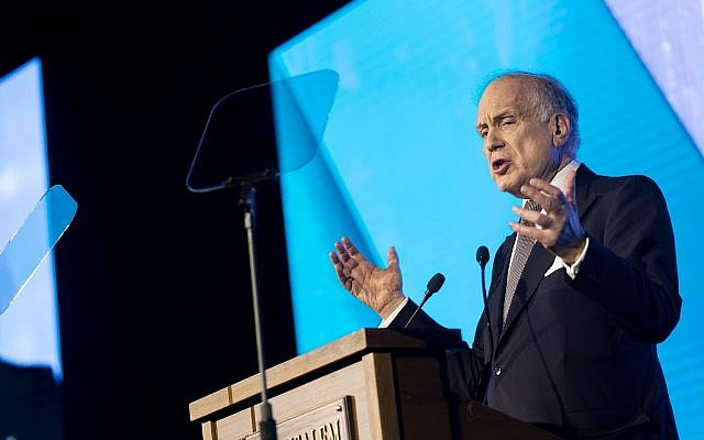 Chairman of the World Jewish Congress, Ron Lauder speaks during the 6th Global Forum for Combating Antisemitism conference at the Jerusalem Convention Center, on March 19, 2017 (Yonatan Sindel/Flash90)
