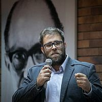 Likud MK Oren Hazan speaks at the Likud founders conference at Jabotinsky house in Tel Aviv, March 25, 2018. (Miriam Alster/FLASH90)