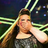 2018 Eurovision winner Netta Barzilai preforms at Tel Aviv's Rabin Square on May 14, 2018. (Tomer Neuberg/Flash90)