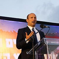 Education Minister Nafatli Bennett in the West Bank on June 11, 2018. (Gershon Elinson/Flash90)