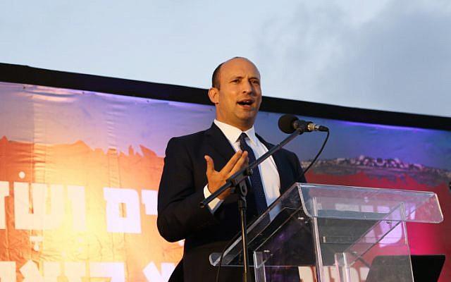Education Minister Nafatli Bennett in the West Bank on June 11, 2018. (Gershon Elinson/Flash90)