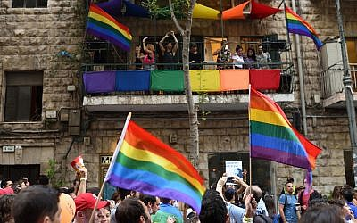 Participants in Jerusalem's Gay Pride Parade, August 2, 2018. (Gili Ya'ari/Flash90)