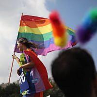 Participants in Jerusalem's Gay Pride Parade, August 2, 2018. (Hadas Parush/Flash90)