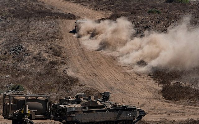 Israeli soldiers during an army drill in Northern Israel on August 7, 2018. (Basel Awidat/Flash90)