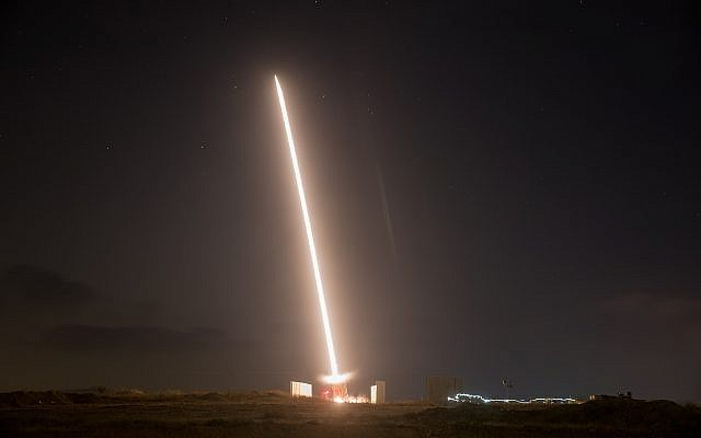 Illustrative photo of an Iron Dome Missile Defense battery firing an interceptor missile on August 9, 2018. (Yonatan Sindel/Flash90)