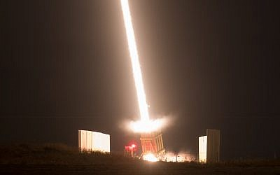 An Iron Dome Missile Defense battery fires an intercepting missile on August 9, 2018. (Yonatan Sindel/Flash90)