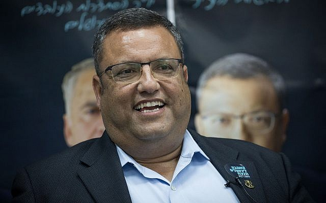 Jerusalem mayoral candidate Moshe Lion at the opening of his campaign headquarters in Jerusalem on August 14, 2018. (Yonatan Sindel/Flash90)