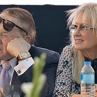Sheldon Adelson with his wife Miriam at the ceremony for a new Faculty of Medicine at Ariel University in the West Bank, on August 19, 2018. (Ben Dori/Flash90)