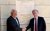 US Ambassador to Israel David Friedman, left, and US national security adviser John Bolton, visit the US Embassy in Jerusalem, on August 21, 2018. (Matty Stern/US Embassy Jerusalem)