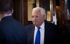 US Ambassador to Israel David Friedman in Jerusalem on August 22, 2018. (Yonatan Sindel/Flash90)