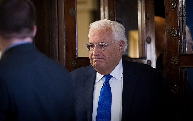 US Ambassador to Israel David Friedman in Jerusalem on August 22, 2018. (Yonatan Sindel/Flash90)