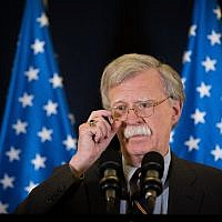 US National Security Adviser, Ambassador John Bolton, attends a press conference in Jerusalem, on August 22, 2018. (Yonatan Sindel/Flash90)