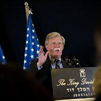 US National Security Adviser, Ambassador John Bolton, holds a press conference in Jerusalem, on August 22, 2018. (Yonatan Sindel/Flash90)