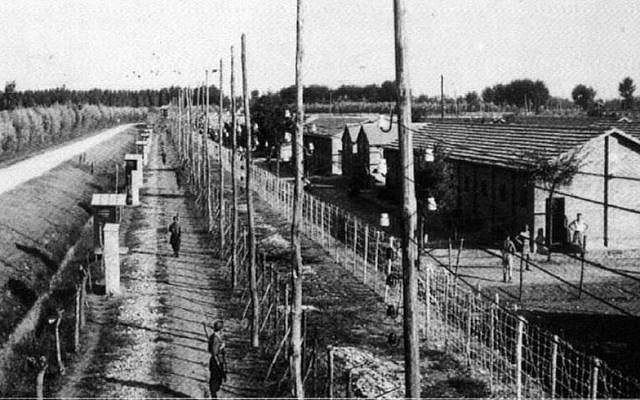 The Italian transit camp Fossoli, a site of imprisonment for Italian Jews about to be deported to Auschwitz-Birkenau, where almost all of them were murdered upon arrival, 1943-45 (public domain)