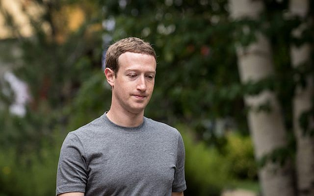 Facebook CEO Mark Zuckerberg at the Allen & Company Sun Valley Conference in Idaho, July 14, 2017. (Drew Angerer/Getty Images/via JTA)