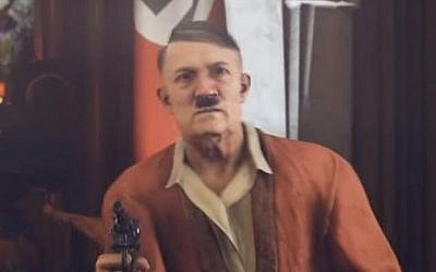 "Nazi dictator Adolf Hitler is seen in front of a Nazi flag in the video game ""Wolfenstein II."" (Screen capture: YouTube)"
