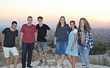 (From L-R) Shahar Glick, Shaun Vetshtein, Noam Hasson, Ayala Englander, Shay Nahum and Ofri Sela in the West Bank settlement of Peduel on July 18, 2018. (Jacob Magid/Times of Israel)