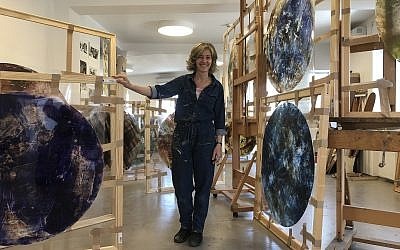 Beverly Barkat in her Jerusalem studio, a few weeks before the final completion and assembly of 'After the Tribes' (Jessica Steinberg/Times of Israel)