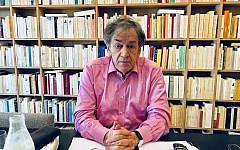 Alain Finkielkraut in his Paris home. (Robert Sarner/ Times of Israel)