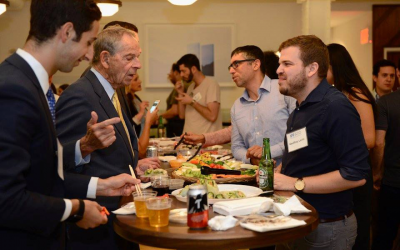 Robert Goodkind, second from left, a member of the board of the Israel Policy Forum, and Daniel Goodkind, right, his grandson and IPF Atid New York Steering Committee member, attend an event in New York on Israeli Security and Palestinian Politics, September 2017. (Gili Getz/Israel Policy Forum/via JTA)