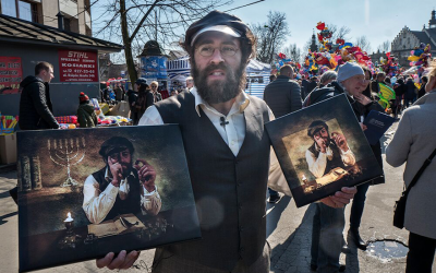 Some find the 'Lucky Jew' phenomenon anti-Semitic, others find it harmless and rooted in nostalgia. (Jason Francisco/via JTA)