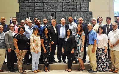 President Reuven Rivlin, center, with Mariano Rivera and other members of his church delegation in Jerusalem, July 31, 2018. (Office of President Rivlin)