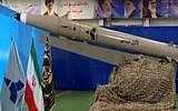 Screen capture from video of a new Iranian short-range ballistic missile, unveiled August 13, 2018. (YouTube)