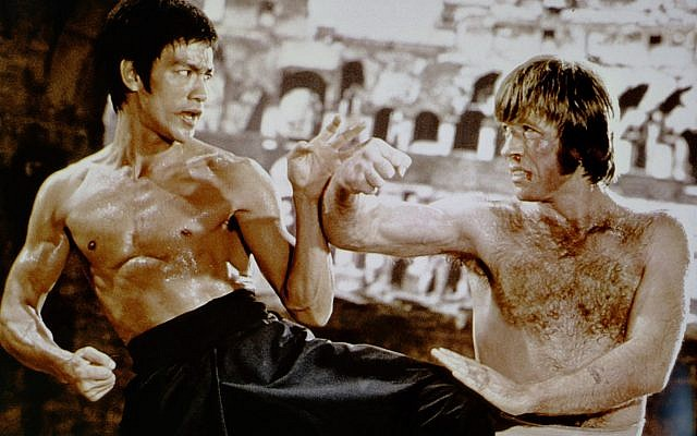 Bruce Lee with Chuck Norris in 'Way of the Dragon.' (Courtesy Matthew Polly)