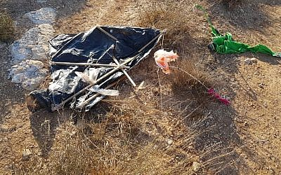 A kite carrying incendiaries which landed in an Israeli vineyard in the West Bank, August 6, 2018. (Tura Winery)