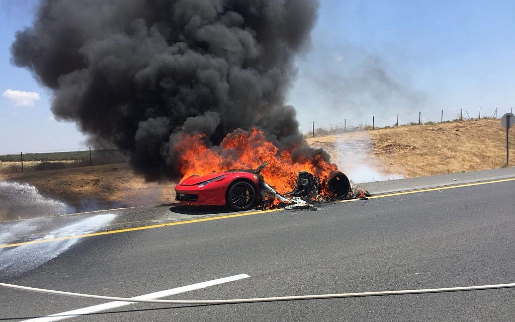 Ferrari bursts into flames on main Israeli highway