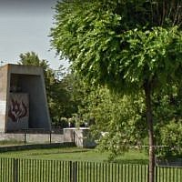 The Holocaust memorial in Plock, Poland. (screen capture: Google Street View)
