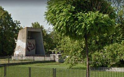 The Holocaust memorial in Plock, Poland. (screen capture: Google Street View)