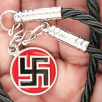 "A Pewter Swastika Pendant Necklace marked ""currently unavailable"" at amazon.com on August 5, 2018"