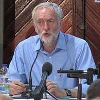 Jeremy Corbyn speaks at a 2015 conference in Belfast, Northern Ireland, hosted by the Sinn Fein party. The now UK Labour Party leader expressed support for boycotting Israel in his remarks at the conference. (Screen capture: YouTube)