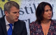 Mark Lewis (L) and his partner Mandy Blumenthal in an interview with the BBC. (Screen capture: YouTube)