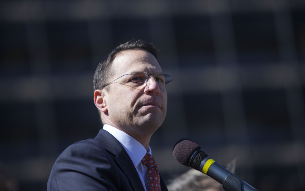 Pennsylvania Attorney General Josh Shapiro addresses a Stand Against Hate rally at Independence Mall in Philadelphia, March 2, 2017. (Jessica Kourkounis/Getty Images via JTA)