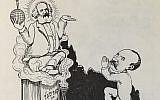 A Yiddish newspaper comic depicting a noted intellectual as praying to Karl Marx. (Yale University Press)