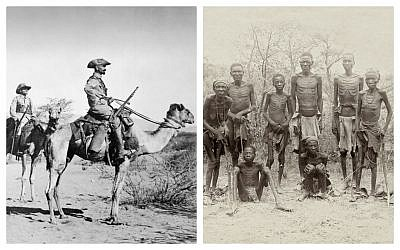 The German Kamelreiterpatrouille, or 'Camel Rider Patrol,' in Southwest Africa, 1906 - 1918. (Budesarchiv Bild); Surviving Herero after the escape through the arid desert of Omaheke in German South-West Africa, modern day Namibia. (Public domain)