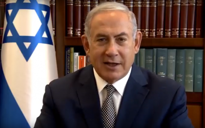 Prime Minister Benjamin Netanyahu in a video released by his office on August 20, 2018, blessing Muslims and Druze for Eid al-Adha. (Screenshot: Youtube)