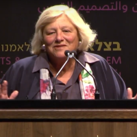British Jewish philanthropist Vivien Duffield in Jerusalem on May 8, 2018. (Screenshot: YouTube)